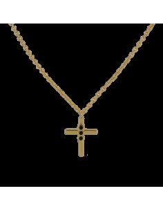 Collar Cruz Circonita Negra